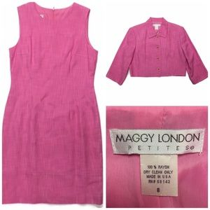 Maggie London Shift Dress Jacket Set 2 PC Pink 8P